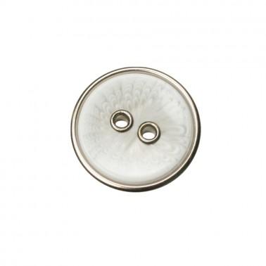 Пуговица пластиковая, 54L, цвет белый+никель