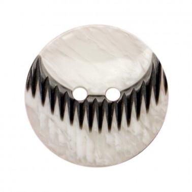Пуговица пластиковая, 40L, цвет черный+белый