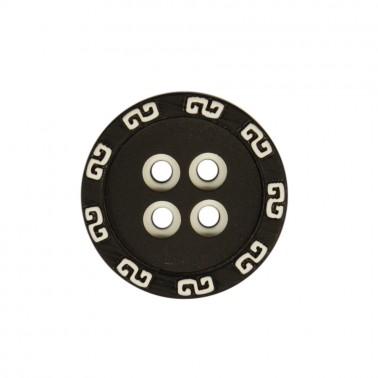 Пуговица пластиковая, 44L, цвет черный+белый, 4 прокола