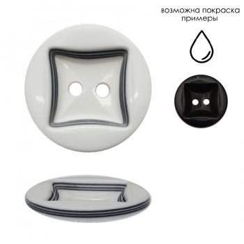 Пуговица пластиковая, 44L, цвет черный+белый