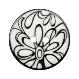 Пуговица пластиковая, 44L, цвет черный+белый, с рисунком