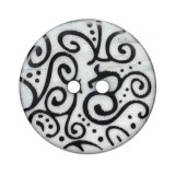 Пуговица пластиковая, 48L, цвет черный+белый, с рисунком