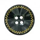 Пуговица пластиковая, 48L, цвет черный+золото