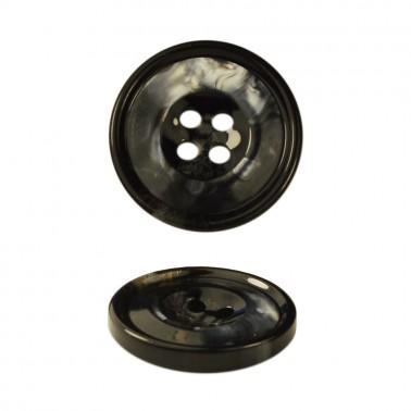 Пуговица пластиковая, 32L, цвет черный+серый