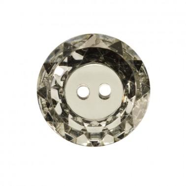 Пуговица-страза пластиковая, 40L, цвет зеркальный, 2 прокола
