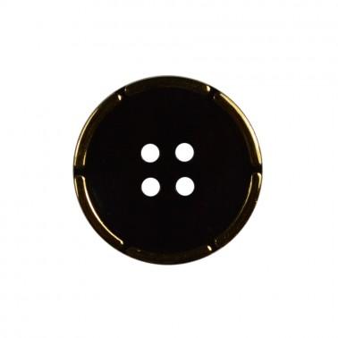 Пуговица пластиковая, 48L, цвет черный+золото, 2 прокола