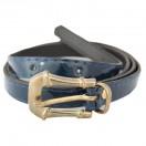 Ремень женский и/к,  длина 115см, ширина 1,4см, пряжка золото, цвет темно-синий