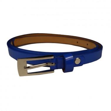 Ремень женский и/к,  длина 118см, ширина 1,4см, пряжка никель, цвет 20-синий