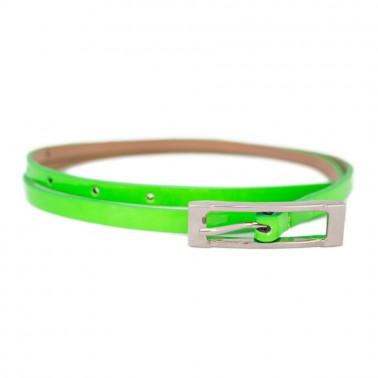 Ремень женский и/к,  длина 115см, ширина 1,4см, пряжка никель цвет зеленый
