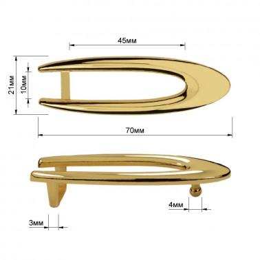 Пряжка на ремень 1.25см овальная, цвет золото