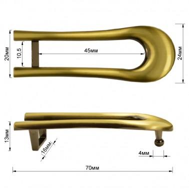 Пряжка на ремень 1.25см овальная, цвет тертый антик