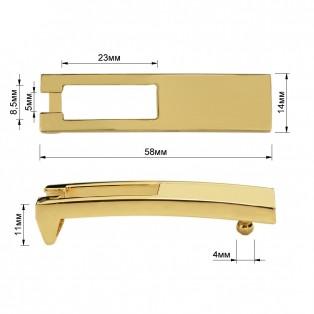 Пряжка на ремень 1.1см прямоугольная, цвет золото