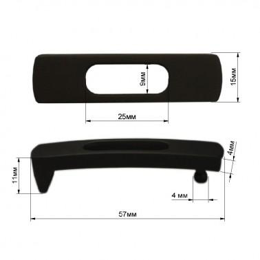 Пряжка на ремень 1.1см прямоугольная, цвет черный тач