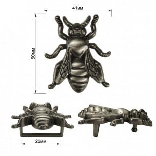 Пряжка на ремень 2,7см пчела, цвет черненое серебро