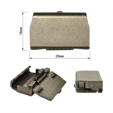 Зажим-крепление для пряжки металл., цвет черненое серебро