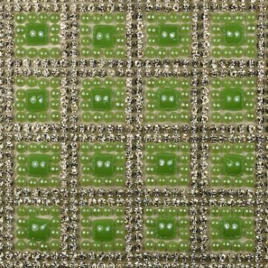 Стразы клеевые на листах, цвет серебро+зеленый
