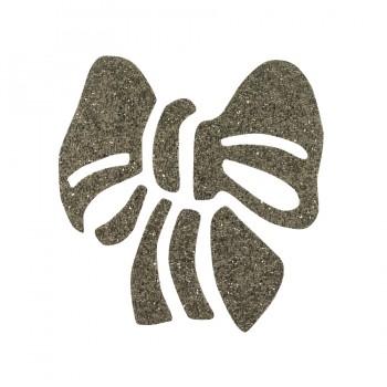 Аппликация термоклеевая Сваровски, бант, цвет серебро
