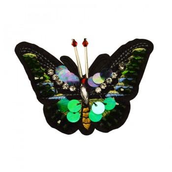 Аппликация пришивная, бабочка, цвет зеленый+черный