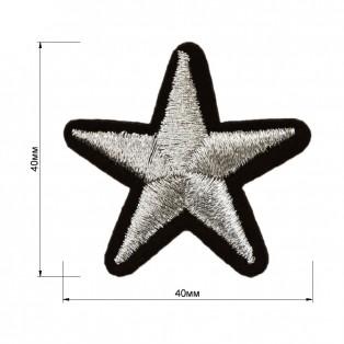 Аппликация клеевая, вышивка текстильная, звезда, цвет серебро