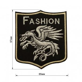 Аппликация клеевая, вышивка текстильная, дракон, цвет серебро