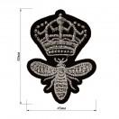 Аппликация клеевая, вышивка текстильная, корона маленькая, цвет серебро