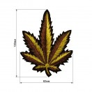Аппликация клеевая, вышивка текстильная, лист, цвет золото
