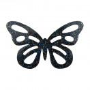 Аппликация термоклеевая Сваровски, бабочка, цвет синий+черный