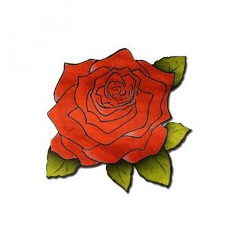 Аппликация клеевая, сатин,  Розы , цвет красный+зеленый