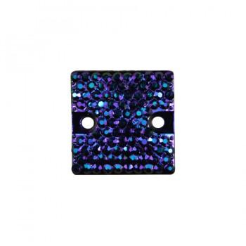 Страза пришивная, 16*16мм, цвет фиолетовый+хамелеон