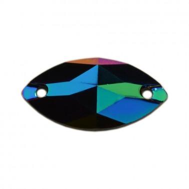 Страза пришивная, 9*18мм, цвет бирюза+хамелеон