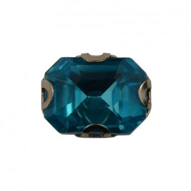 Страза пришивная, 6*8мм, цвет голубой
