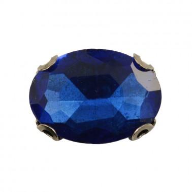 Страза пришивная, 10*14мм, цвет синий