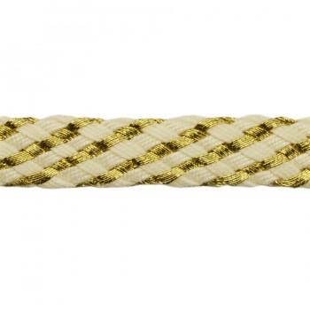 Тесьма декоративная c металлической нитью, цвет золото+молочный