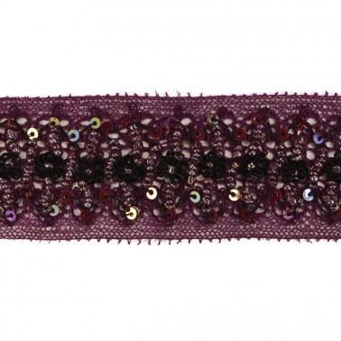 Кружево с бисером и пайетками, цвет фиолетовый