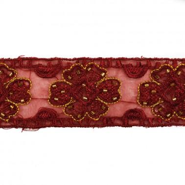 Тесьма декоративная с цветами, цвет красный