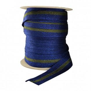 Лента отделочная с люрексом, цвет  синий+хаки