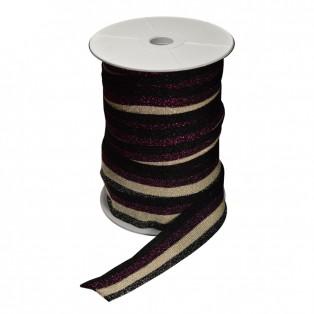 Лента отделочная с люрексом, цвет черный+бежевый+фиолетовый+черный