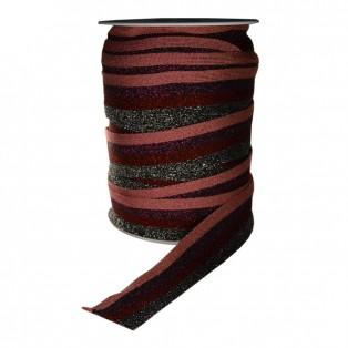 Лента отделочная с люрексом, цвет черный+красный+фиолетовый+розовый