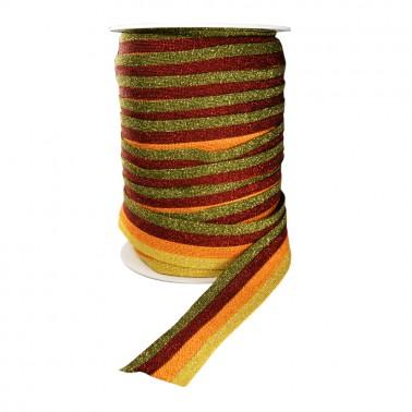 Лента отделочная с люрексом, цвет  желтый+оранжевый+красный+зеленый