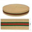 Тесьма поясная, двусторонняя, цвет бежевый+зеленый+красный