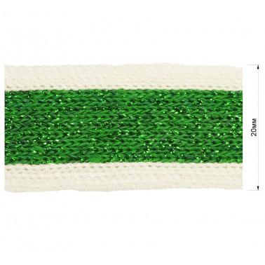 Тесьма отделочная c люрексом, цвет белый+зеленый