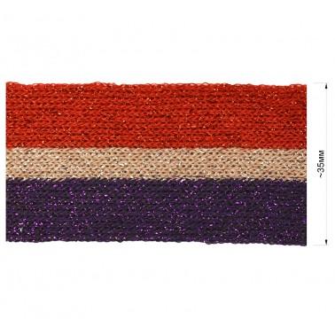 Тесьма отделочная c люрексом, цвет красный+розовый+фиолетовый
