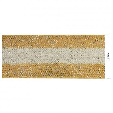 Тесьма отделочная c люрексом, цвет  песочный+серый