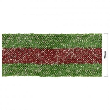Тесьма отделочная c люрексом, цвет зеленый+красный