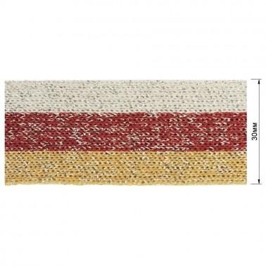 Тесьма отделочная c люрексом, вет серый+красный+песочный