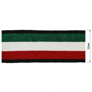 Теьма отделочная c люрексом, цвет красный+белый+зеленый+черный