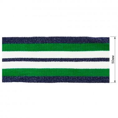 Тесьма отделочная c люрексом, цвет синий+cветло-зеленый+белый