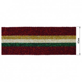 Теьма отделочная c люрексом, цвет красный+зеленый+бежевый+желтый