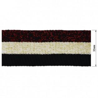 Теьма отделочная c люрексом, цвет черный+бежевый+красный