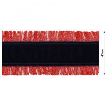 Тесьма отделочная бархатная c бахромой, цвет красный+темно-синий